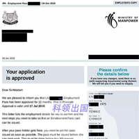 贸易行业刘女士申请新加坡创业移民获EP准证批函
